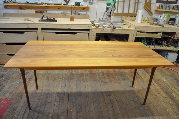 Gary Hecht Woodworker Custom Drop Leaf Yellow Pine Shaker Table Extended