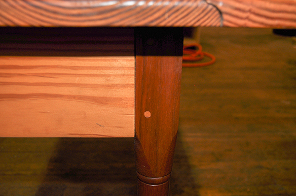 Gary Hecht Woodworker Custom Joinery Detail on Yellow Pine  Shaker Table with Walnut Legs