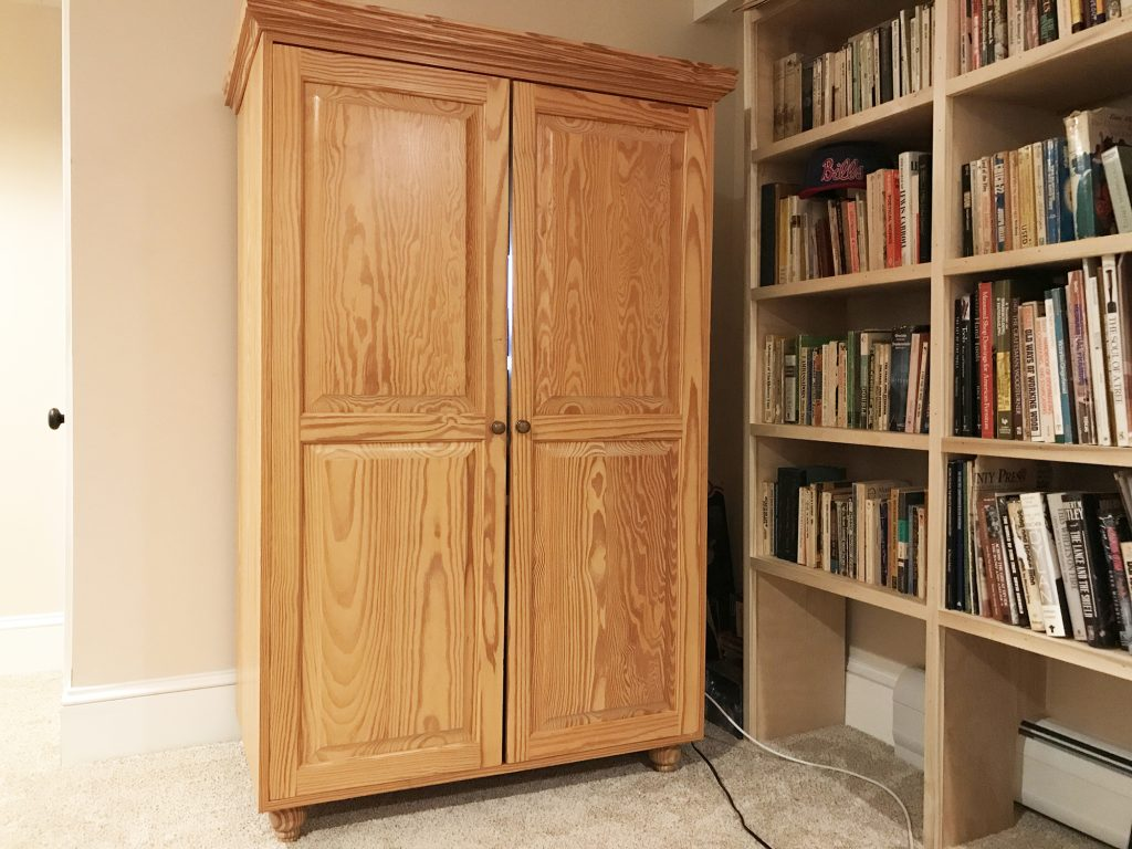 Gary Hecht Woodworker Custom Southern Yellow Pine Armoire Desk Outside